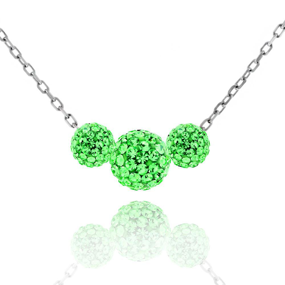 Triple Crystal Ball Drop Necklace-Peridot-Daily Steals