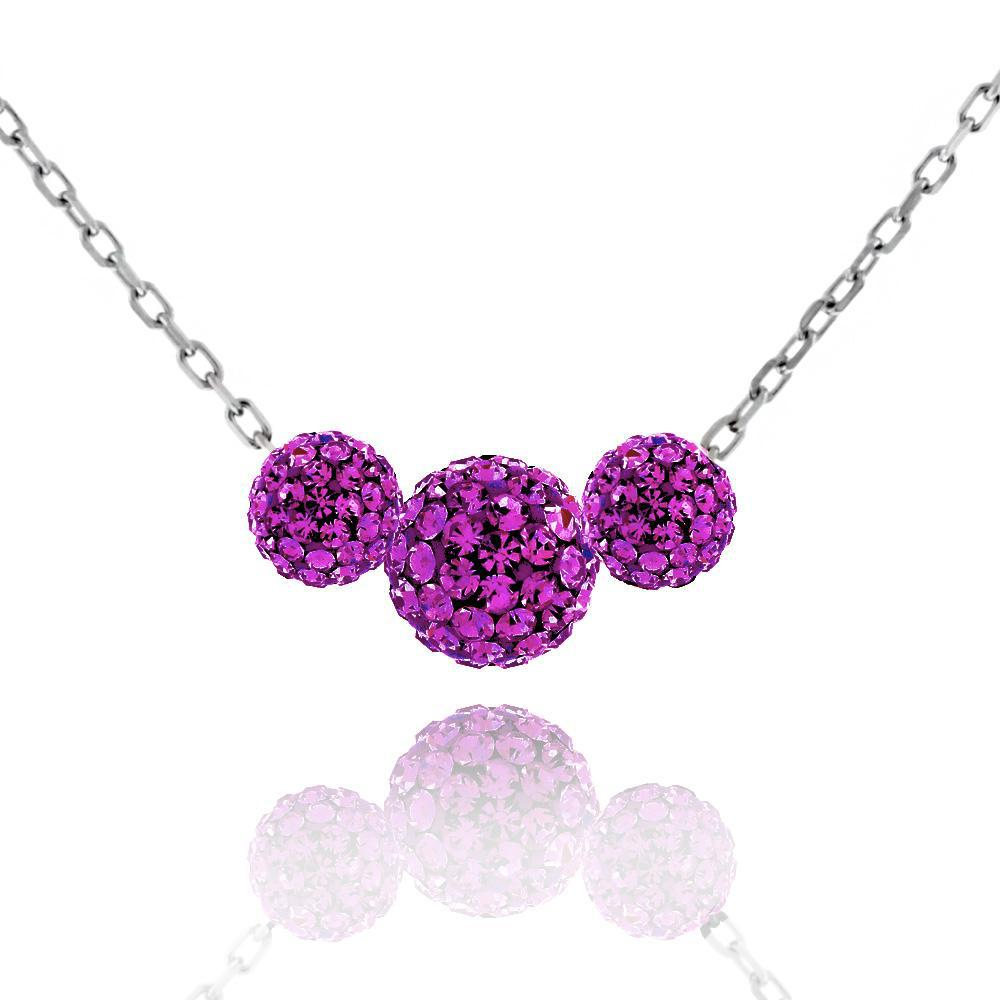Triple Crystal Ball Drop Necklace-Purple-Daily Steals