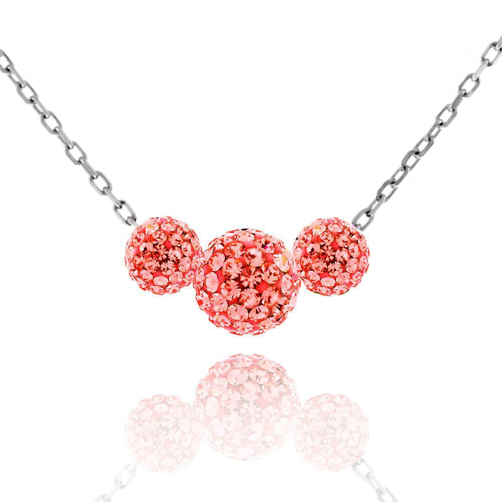 Triple Crystal Ball Drop Necklace-Ruby-Daily Steals