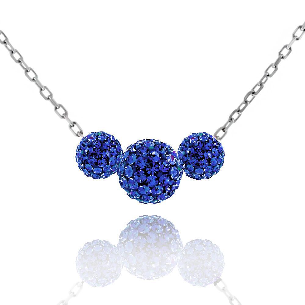 Triple Crystal Ball Drop Necklace-Sapphire-Daily Steals