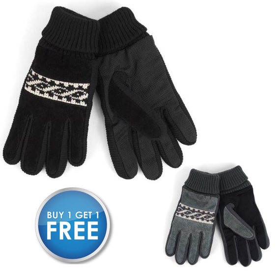 Daily Steals-[BOGO] Men's Genuine Leather Non-Slip Grip Winter Gloves with Soft Acrylic Lining-Men's Apparel-