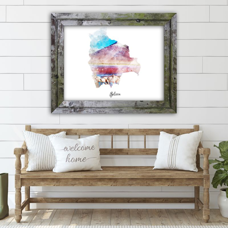 "Bolivia Watercolor Map Print - Unframed Art Print-14""x11""-Horizontal/Landscape-Daily Steals"