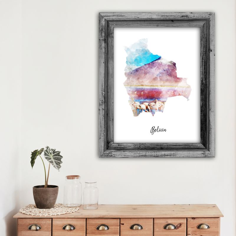 "Bolivia Watercolor Map Print - Unframed Art Print-11""x14""-Vertical/Portrait-Daily Steals"