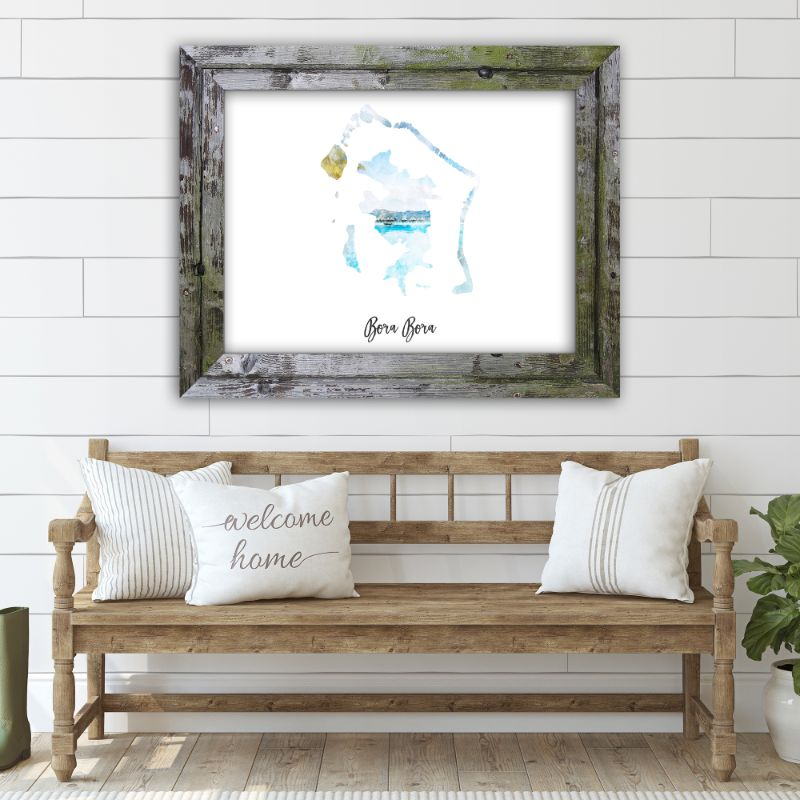 "Bora Bora Watercolor Map Print - Unframed Art Print-16""x12""-Horizontal/Landscape-Daily Steals"