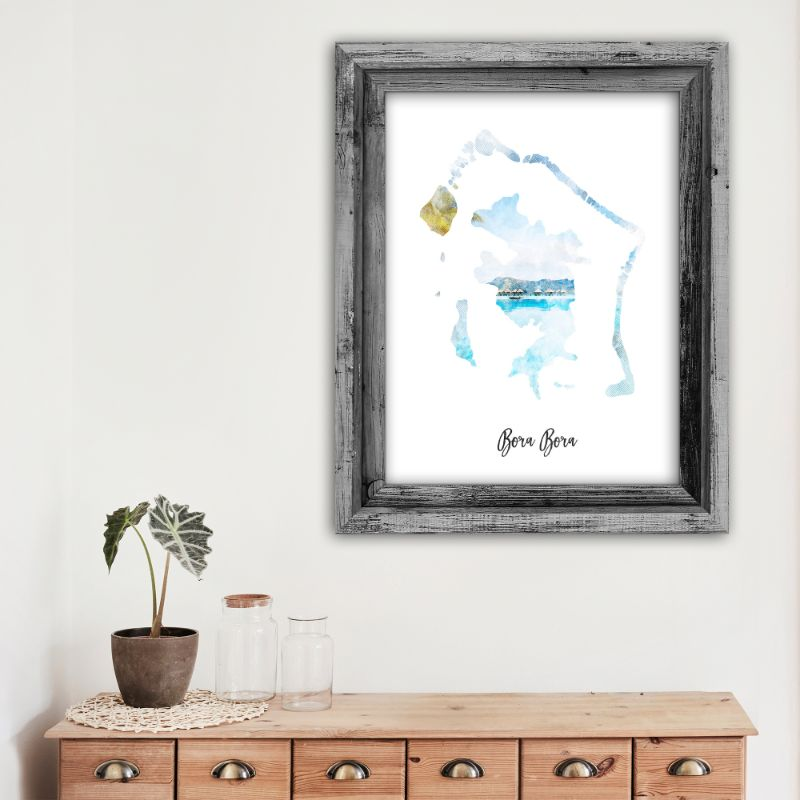 "Bora Bora Watercolor Map Print - Unframed Art Print-11""x14""-Vertical/Portrait-Daily Steals"