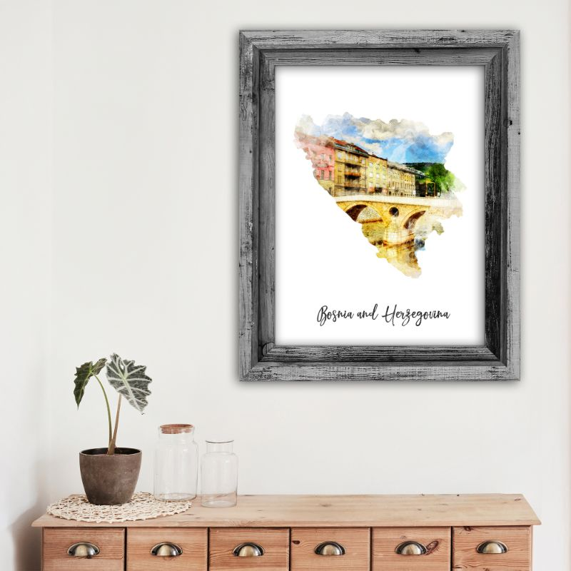 "Bosnia and Herzegovina Watercolor Map Print - Unframed Art Print-12""x18""-Vertical/Portrait-Daily Steals"