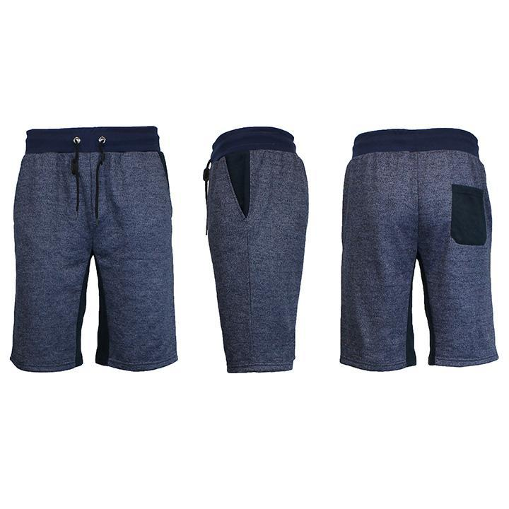 Men's Marled French Terry Shorts with Contrast Pockets-Heather Navy/Navy-Small-Daily Steals