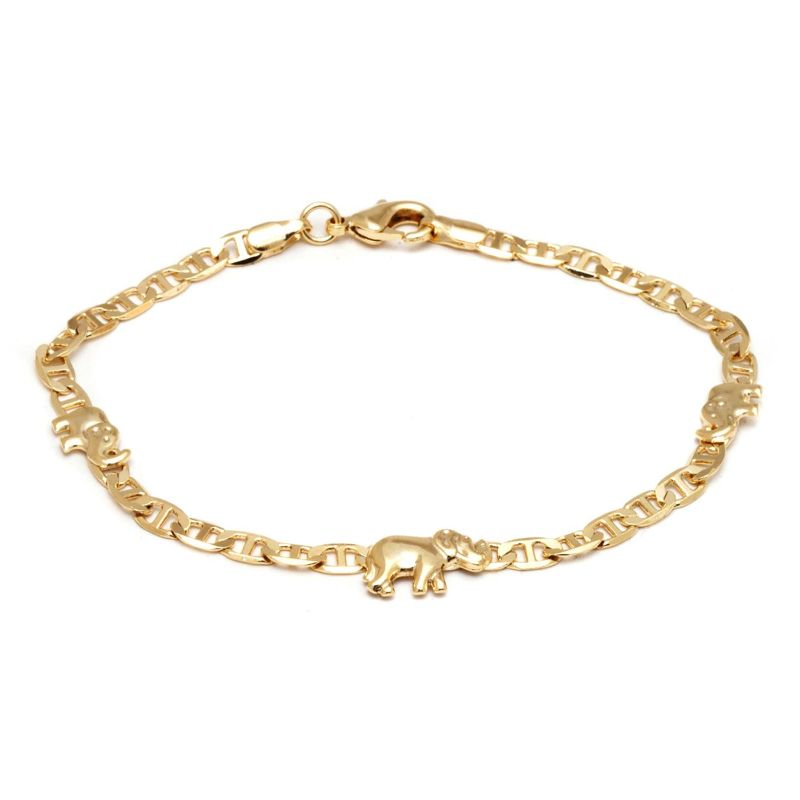 18K Gold Plated Elephant Charm Mariner Link Anklet-Daily Steals