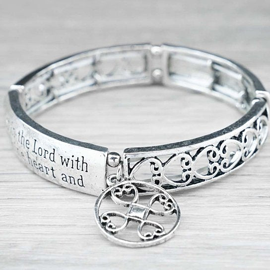 "Spiritual Engraved Bracelet, Proverbs 3:5 - ""Trust in the Lord...""-Daily Steals"