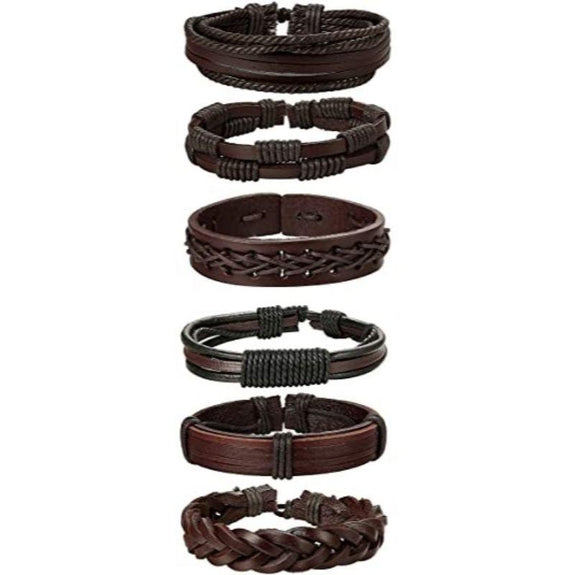 Braided Leather Unisex Bracelets Brown or Black - 6 Pack-Brown-Daily Steals