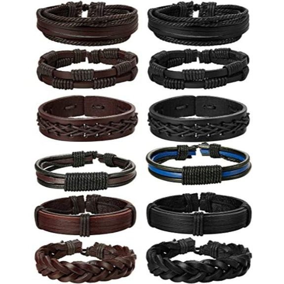 Braided Leather Unisex Bracelets Brown or Black - 6 Pack-Daily Steals
