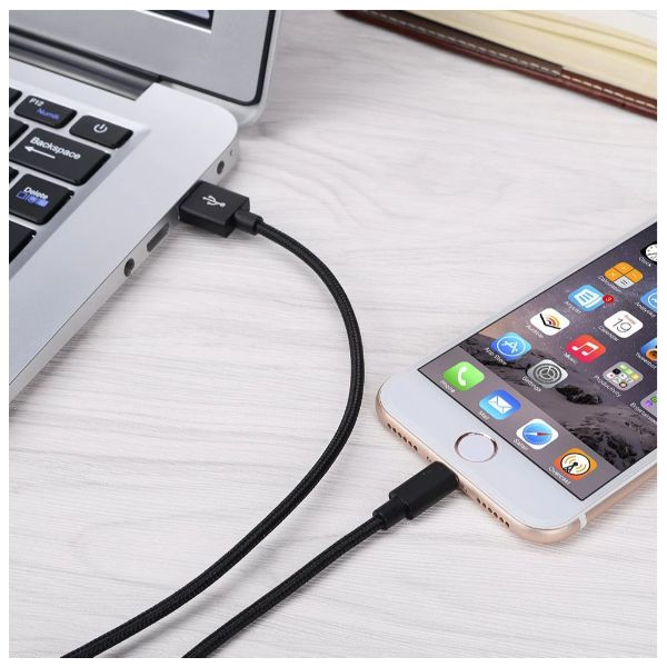 10-Foot Apple MFi-Certified Braided Lightning Cables - 3 Pack-Daily Steals