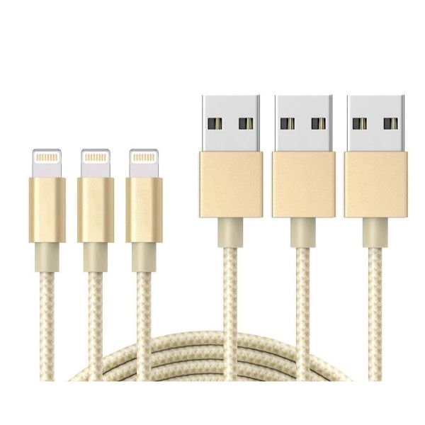 10-Foot Apple MFi-Certified Braided Lightning Cables - 3 Pack-Gold-Daily Steals