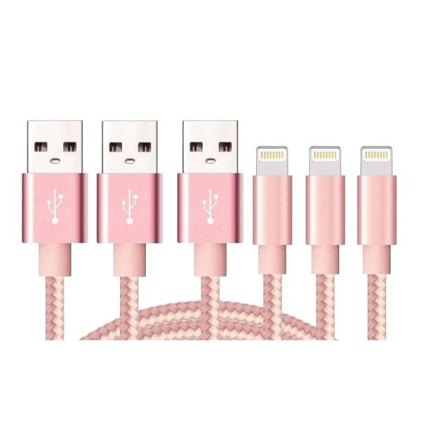 10-Foot Apple MFi-Certified Braided Lightning Cables - 3 Pack-Pink-Daily Steals