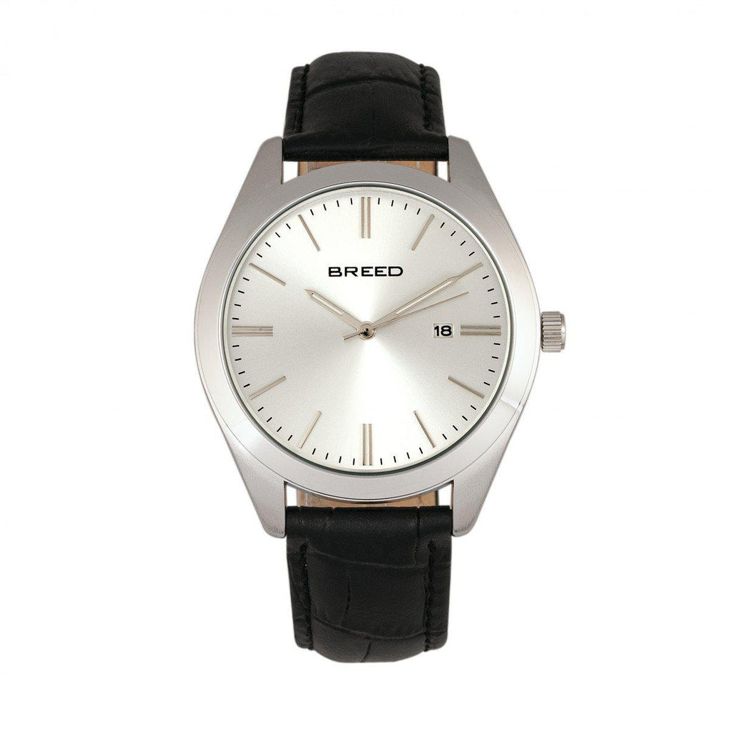Breed Louis Leather-Band Watch w/Date-Silver/Blue/Blue-Daily Steals