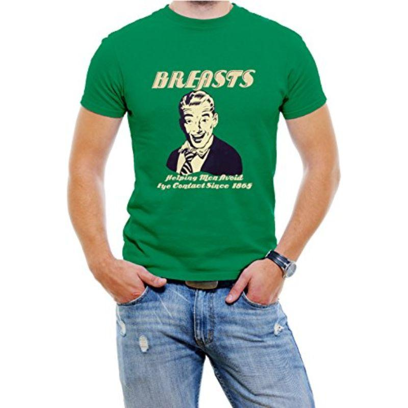 """Breasts Helping Men Avoid Eye Contact"" Funny T-Shirt For Men-Green-4XL-Daily Steals"