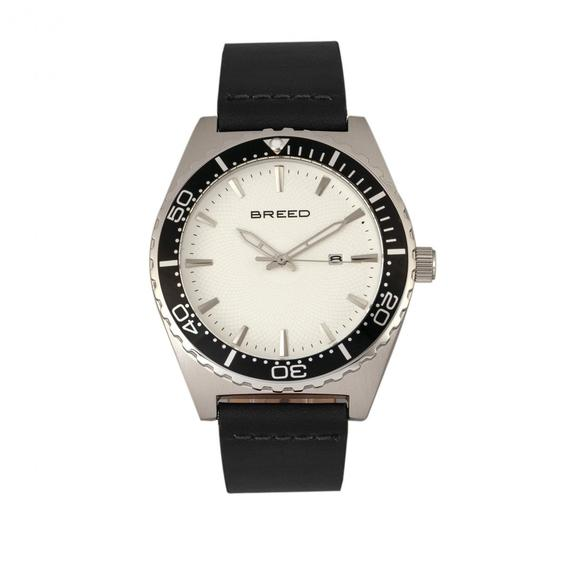 Daily Steals-Breed Ranger Leather-Band Watch w/Date-Accessories-Black/Silver-