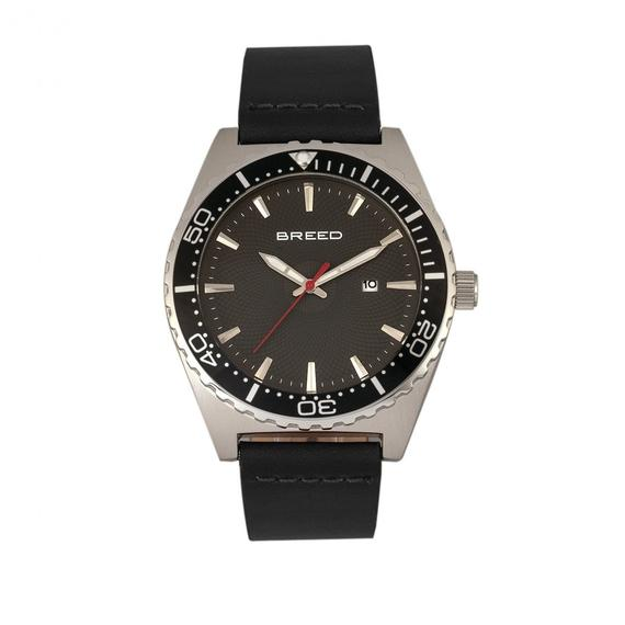 Daily Steals-Breed Ranger Leather-Band Watch w/Date-Accessories-Black/Silver/Black-