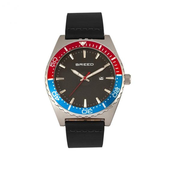 Daily Steals-Breed Ranger Leather-Band Watch w/Date-Accessories-Black/Silver/Red-and-Blue-