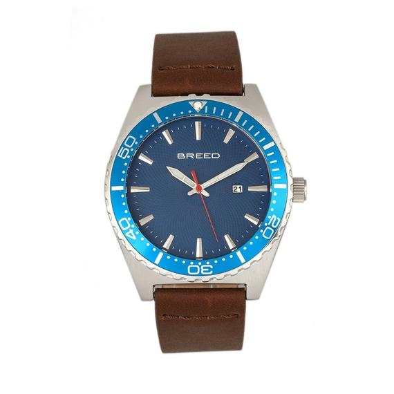 Daily Steals-Breed Ranger Leather-Band Watch w/Date-Accessories-Dark Brown/Silver/Blue-