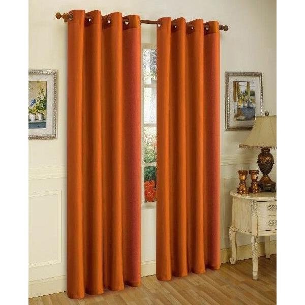 Mira Faux Silk Curtains with Bronze Grommets - 3 Panels-Brick-Daily Steals