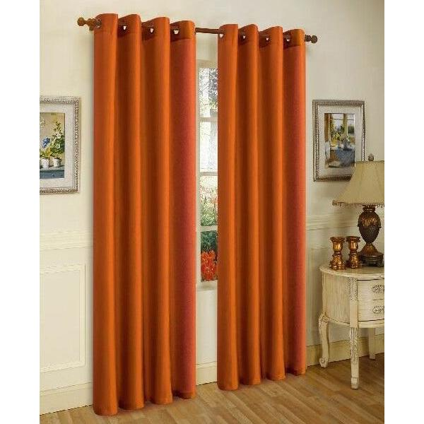 Daily Steals-Mira Faux Silk Curtains with Bronze Grommets - 3 Panels-Home and Office Essentials-Brick-