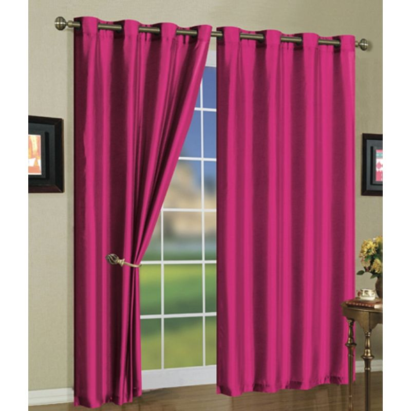 Set of Two Stylish Curtain Panels with Rod Grommets: 58 x 84 Inches-Bright Rose-Daily Steals