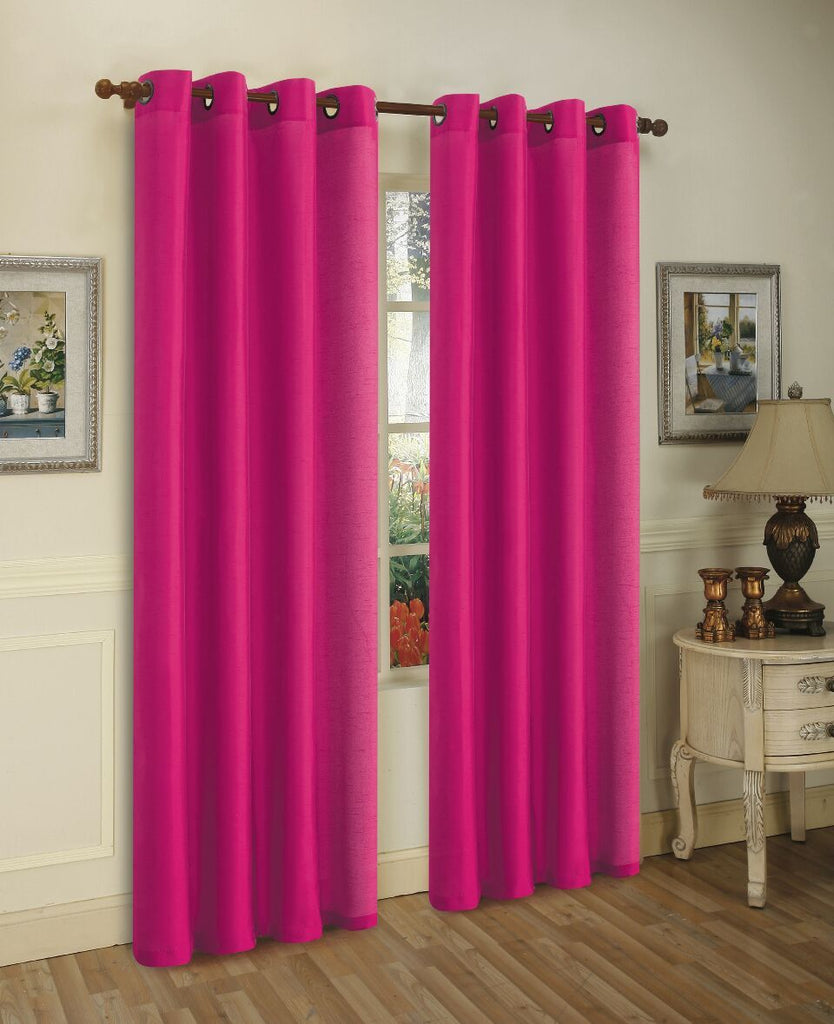 Mira Faux Silk Curtains with Bronze Grommets - 3 Panels-Bright Rose-Daily Steals