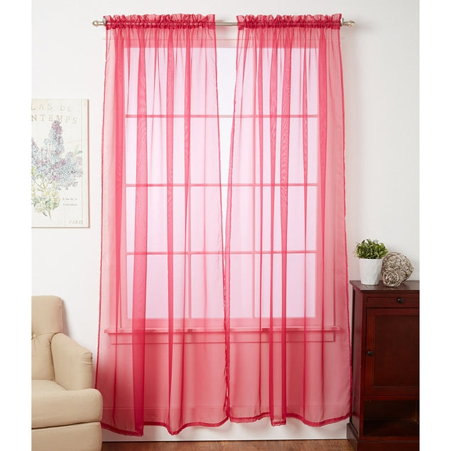 Linda Sheer Voile Curtain Panels - Various Colors - 4-Pack-BRIGHT ROSE-Daily Steals