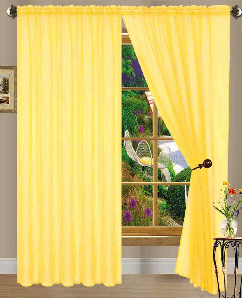 Linda Sheer Voile Curtain Panels - Various Colors - 4-Pack-BRIGHT YELLOW-Daily Steals