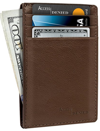 Access Denied Leather Credit Card Holder Wallet with RFID Blocking-Daily Steals