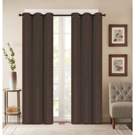 "Embossed Faux Silk 76""x63"" or 76""x84"" Grommet Window Panel Pair-BROWN-76'' X 63''-Daily Steals"