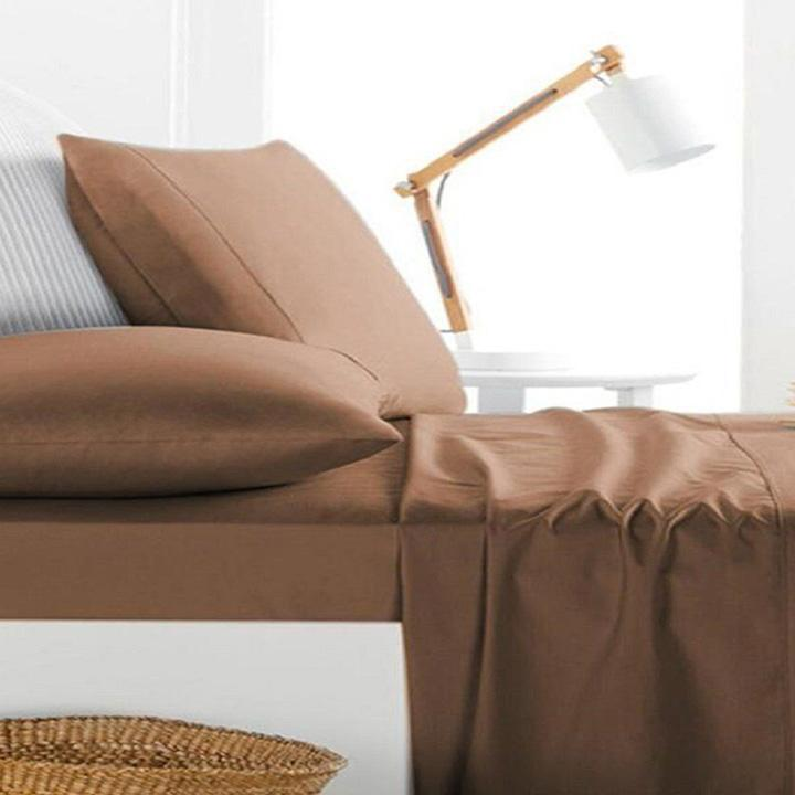 [4-Piece] Luxurious 1,000 Thread Count Egyptian Cotton Sheet Sets-Brown-King-Daily Steals