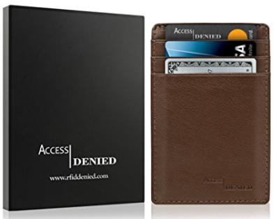 Access Denied Leather Credit Card Holder Wallet with RFID Blocking-Brown-Daily Steals