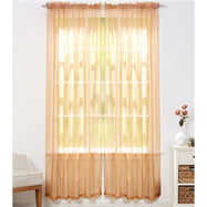 Linda Sheer Voile Curtain Panels - Various Colors - 4-Pack-Brown-Daily Steals