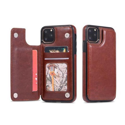 iPM Apple iPhone 11, Pro, Pro Max PU Leather Purse Protective Case-Brown-iPhone 11-Daily Steals