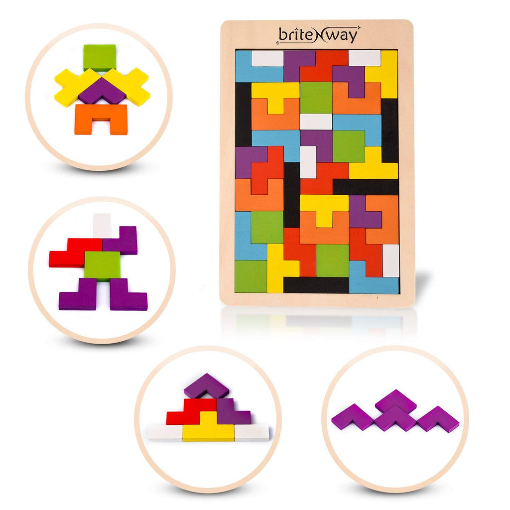 Wooden Tetris Puzzle Toy For Toddlers And Preschoolers-Daily Steals