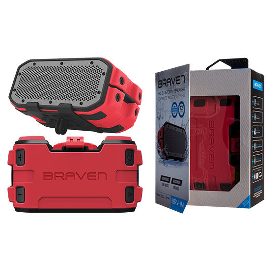 Braven BRV-1M Ultra-Rugged Mountable Bluetooth Waterproof Speaker-Red-Daily Steals