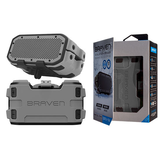 Braven BRV-1M Ultra-Rugged Mountable Bluetooth Waterproof Speaker-Grey-Daily Steals