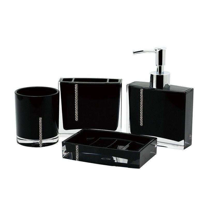 Daily Steals-Luxurious Crystal 4-Piece Bathroom Accessory Set-Home and Office Essentials-Black-