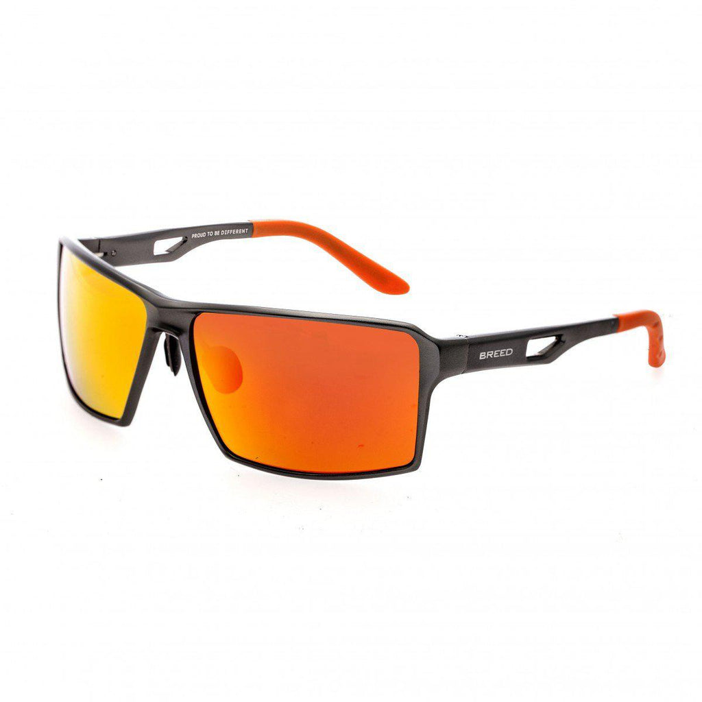 Breed Centaurus Aluminium Sunglasses w/Polarized Lenses-Gunmetal/Red-Yellow-Daily Steals