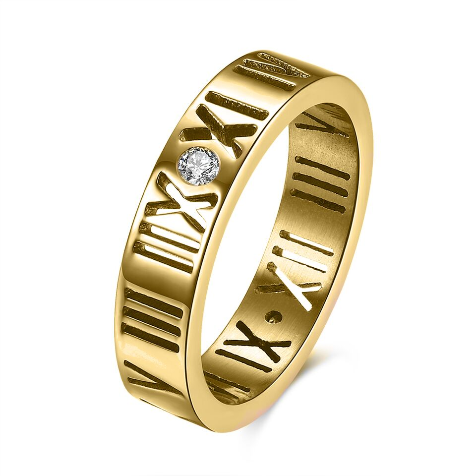 Stainless Steel Gold Color Plated Cut-out Roman Numeral Band Ring