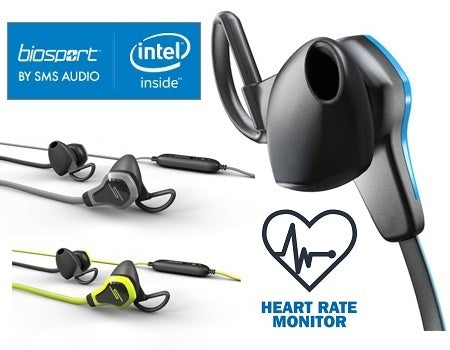 Biosport In-Ear headphones by SMS Audio with Biometric Sweat Proof & Built-In Heart Rate Monitor