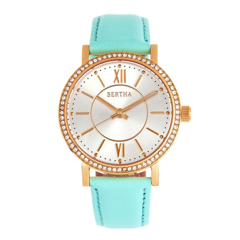 Bertha Lydia Women's Roman Numeral, Crystal Bezel, Leather Band Watch