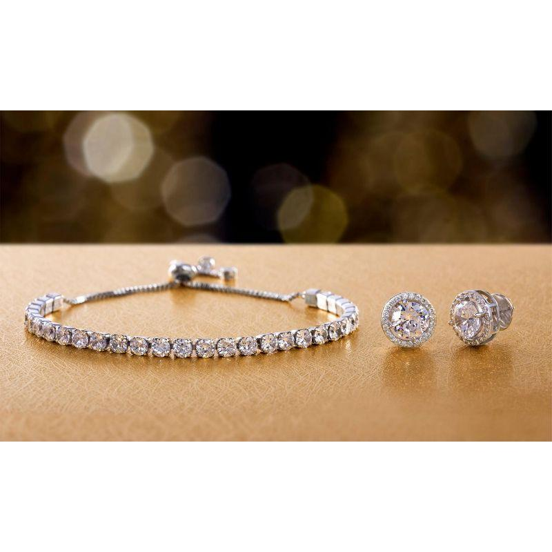 Bubble Tennis Bracelet Halo Stud Earrings In 18k White Gold Filled-Daily Steals