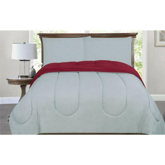 All-Season Down Alternative Reversible 2-Tone Comforter - 4 Colors-Burgundy/Silver-Twin/Twin XL-Daily Steals