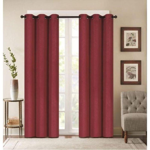 "Embossed Faux Silk 76""x63"" or 76""x84"" Grommet Window Panel Pair-BURGUNDY-76'' X 63''-Daily Steals"