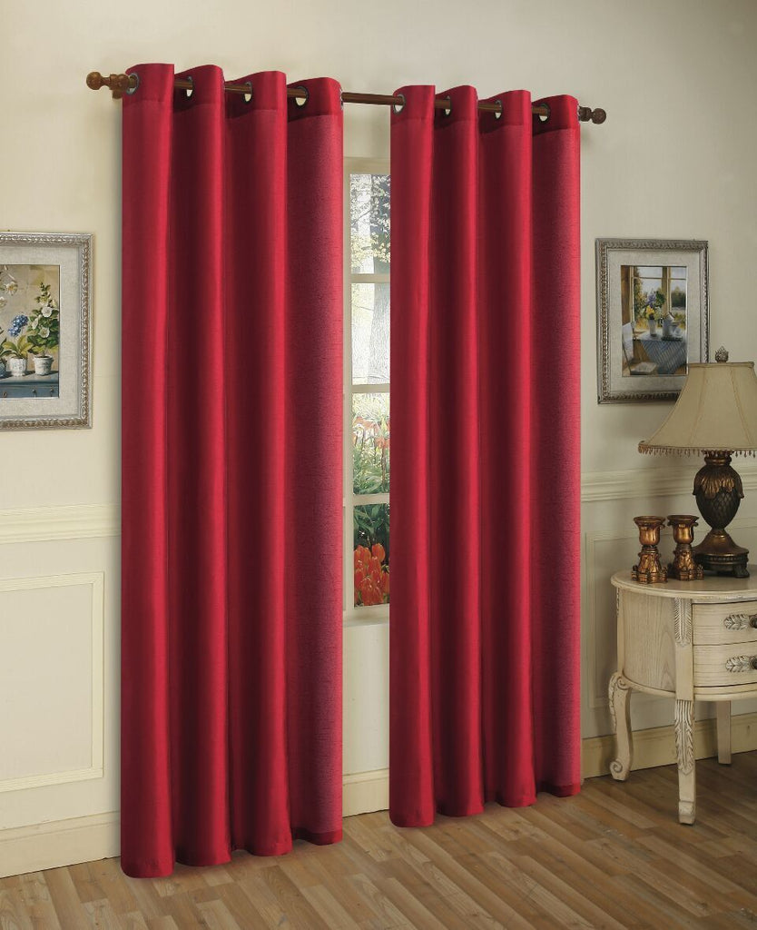 Mira Faux Silk Curtains with Bronze Grommets - 3 Panels-Burgundy-Daily Steals