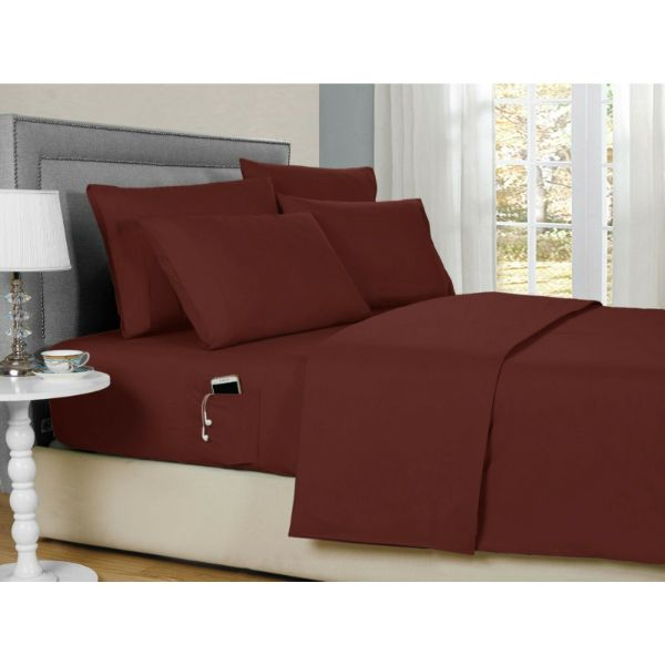 Bamboo 2000 6-Piece Smart Sheets Set with Storage Pocket-Burgundy-Queen-Daily Steals