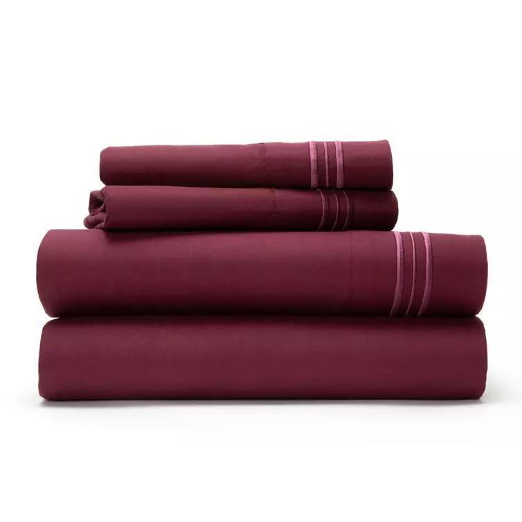 Ultra Soft 1800 Series Bamboo Blend Sheets - 4 Piece Set-Burgundy-Twin-Daily Steals